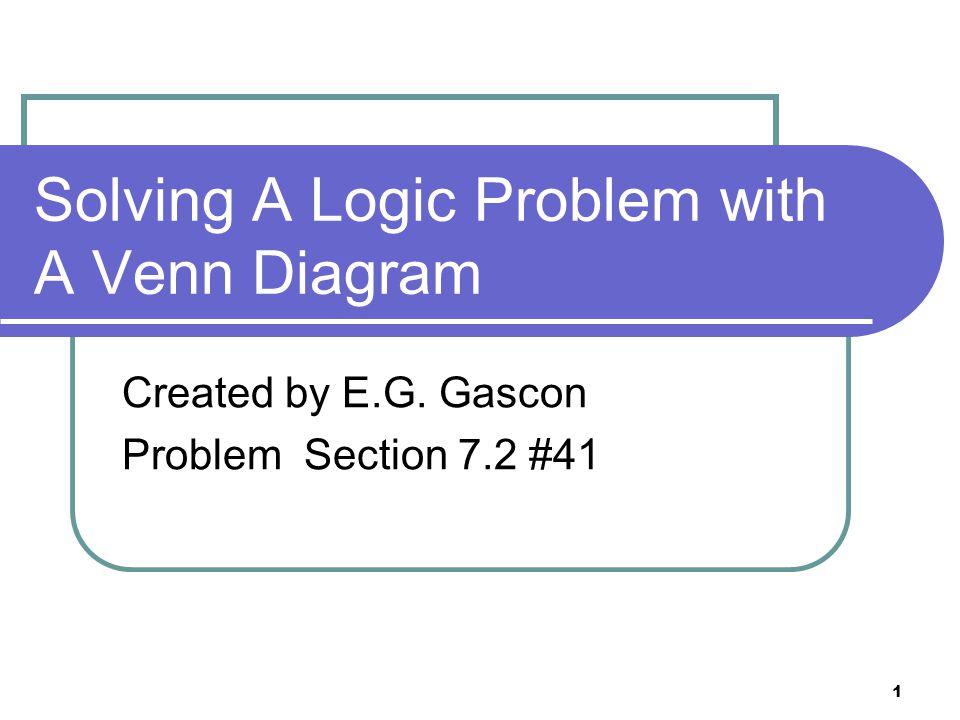1 Solving A Logic Problem with A Venn Diagram Created by EG Gascon