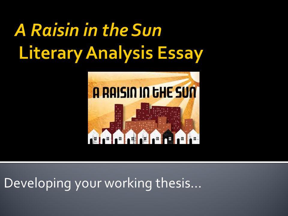 Raisin in the sun analysis essay Essay Help