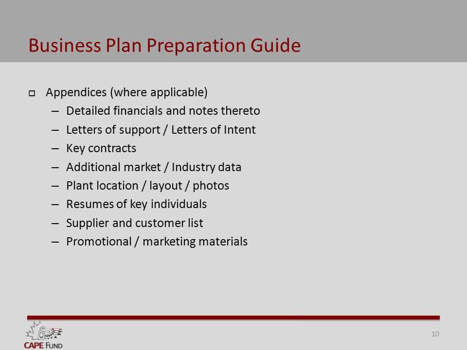 Business Plan Preparation Outline Business Plan Preparation Guide - Letter Of Intent Layout