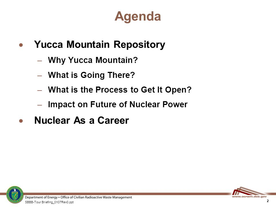 The Yucca Mountain Repository for Nuclear Waste April 23, 2007 - waste management ppt