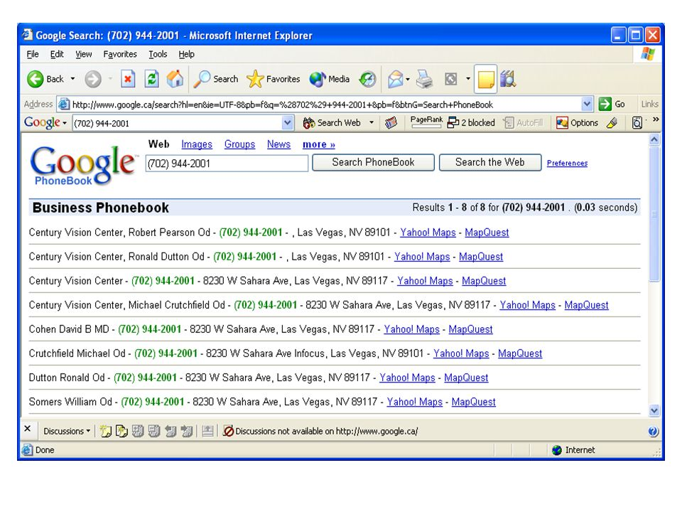 Google Search Using internet search engine as a tool to find - business phone book