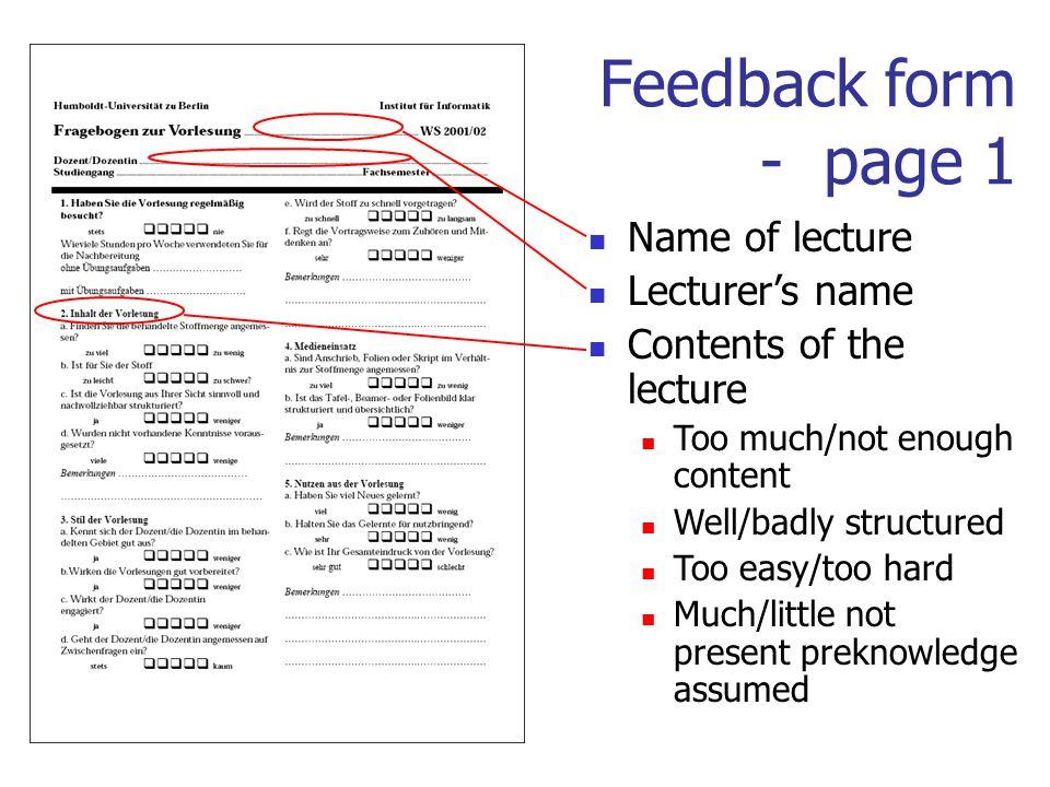 Lecture Evaluation Form madebyrichard - lecture evaluation form