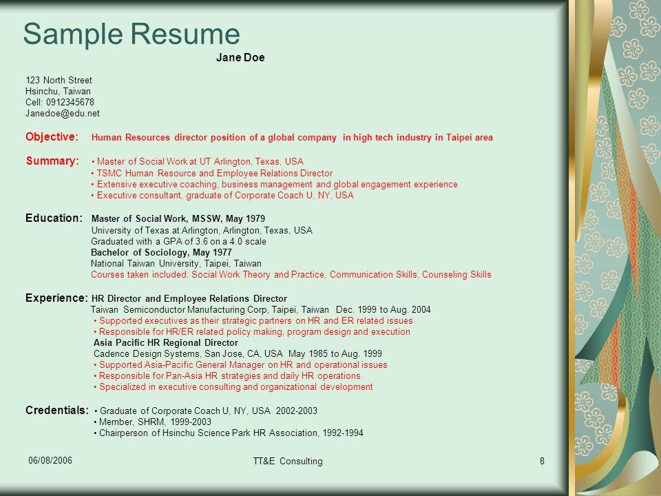 Tips on English Resume Writing  Interview Skills Tammy Gau TTE