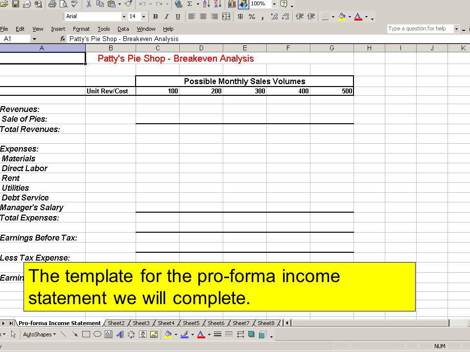 Excel Project #4 Breakeven Analysis Patty\u0027s Pie Shop Patty is an