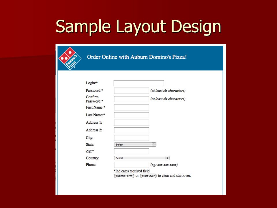 Domino\u0027s Pizza Online Order Form Design Usable by anyone familiar