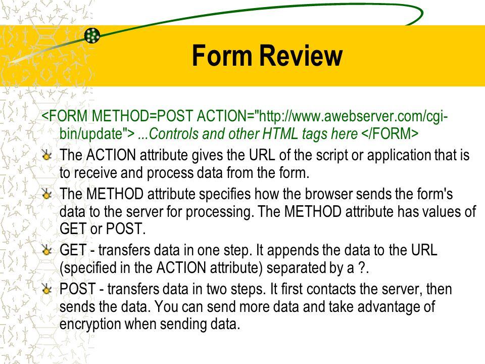 HCI 201 Week 9 Forms Sound Animation Agenda Forms \u2013Review \u2013Using