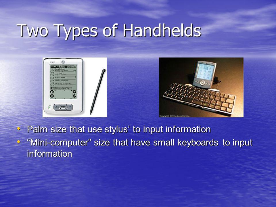 A Presentation by DanielleRichardandFaten What is a handheld? PDA\u0027s