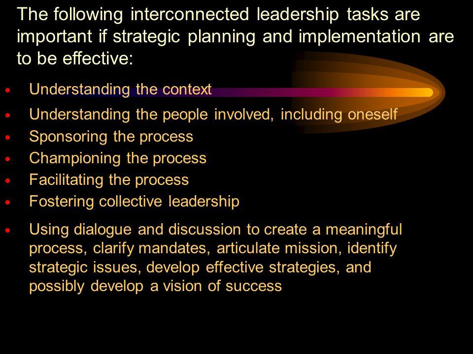 LEADERSHIP AND STRATEGIC PLANNING Source John M Bryson and Barbara