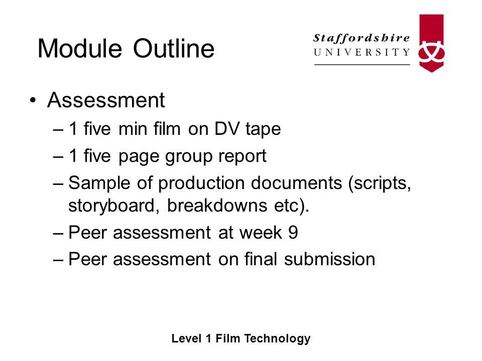 Module Outline Level 1 Film Technology Film Technology CE Semester - sample script storyboard