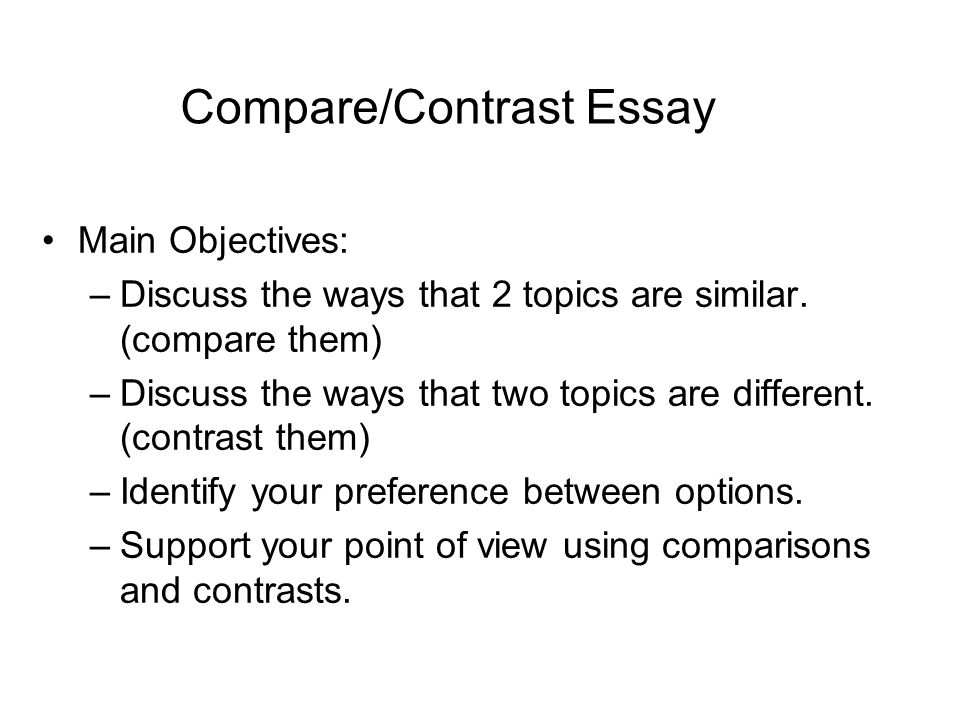Compare/Contrast Essay Main Objectives \u2013Discuss the ways that 2