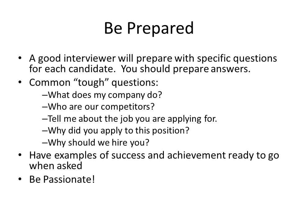 Agenda Preparation, and the Elevator-Pitch Competency-based - questions to ask interviewer