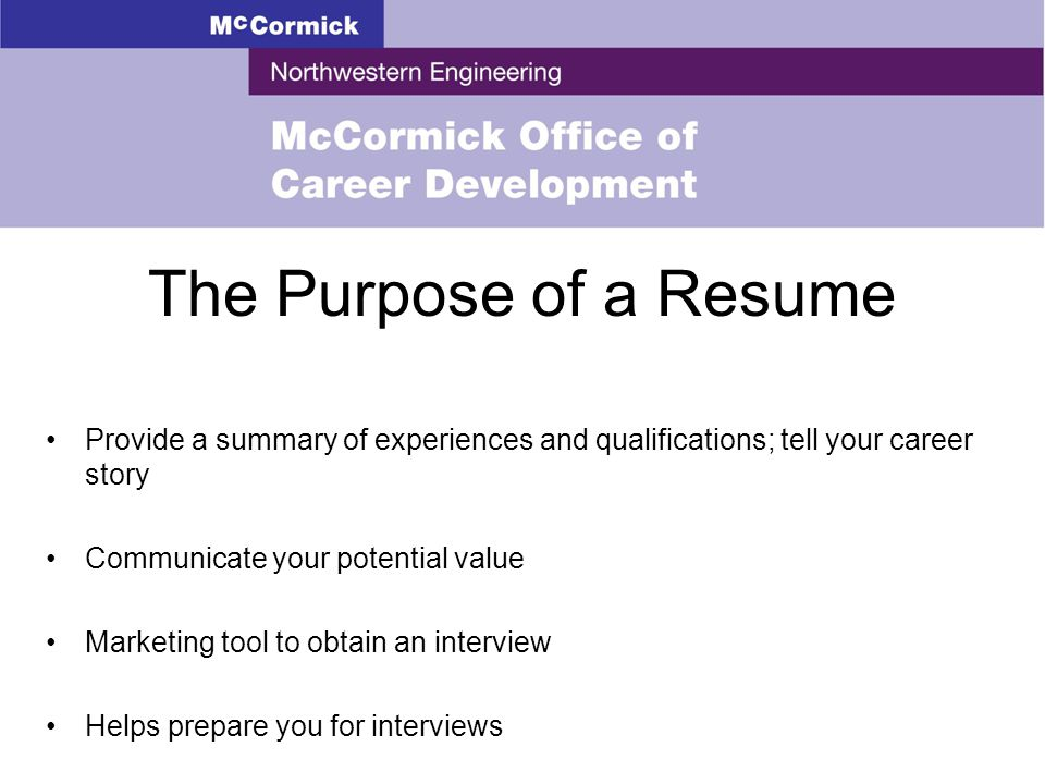 RESUME WRITING Objectives Understand the purpose of a resume - purpose of a resume