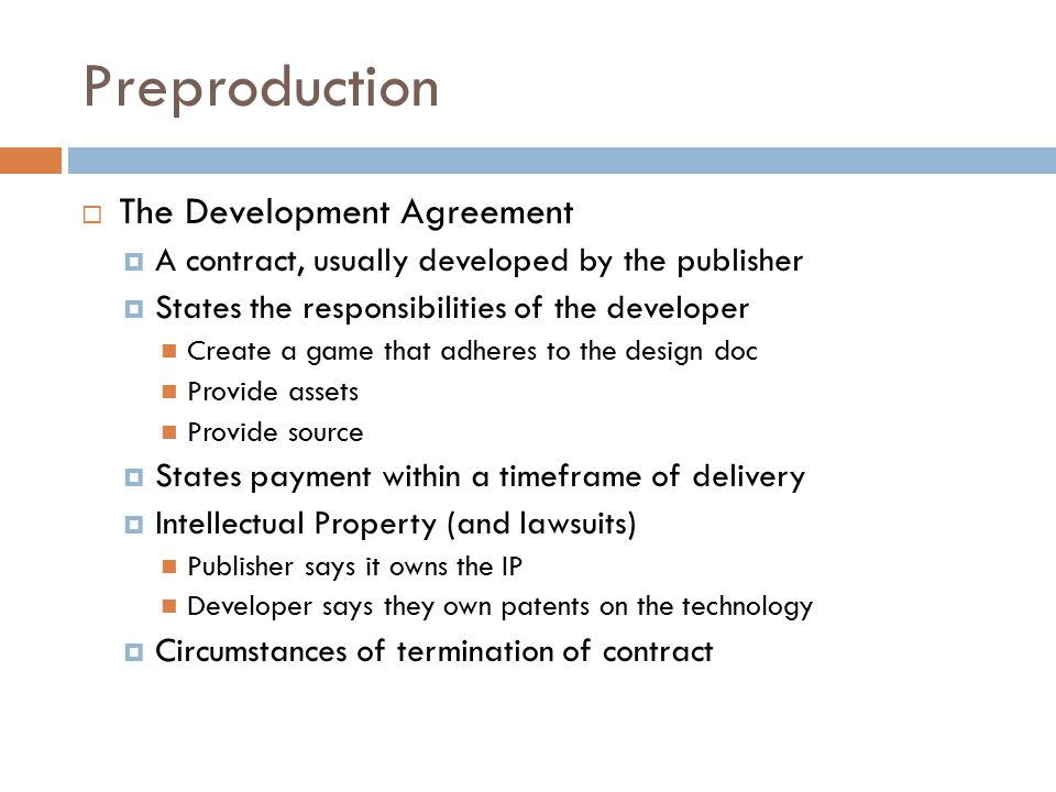 GAME PRODUCTION OVERVIEW CGDD Overview  Based on Chapter 71 from - development agreement contract