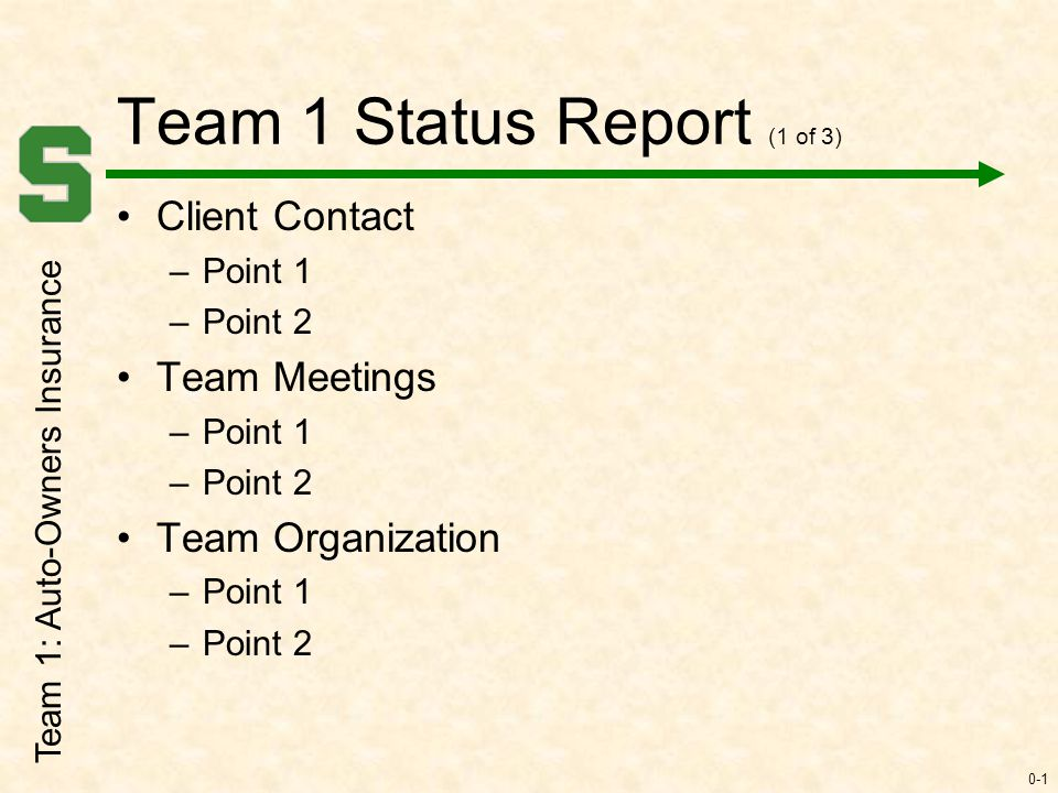 0-1 Team 1 Status Report (1 of 3) Client Contact \u2013Point 1 \u2013Point 2