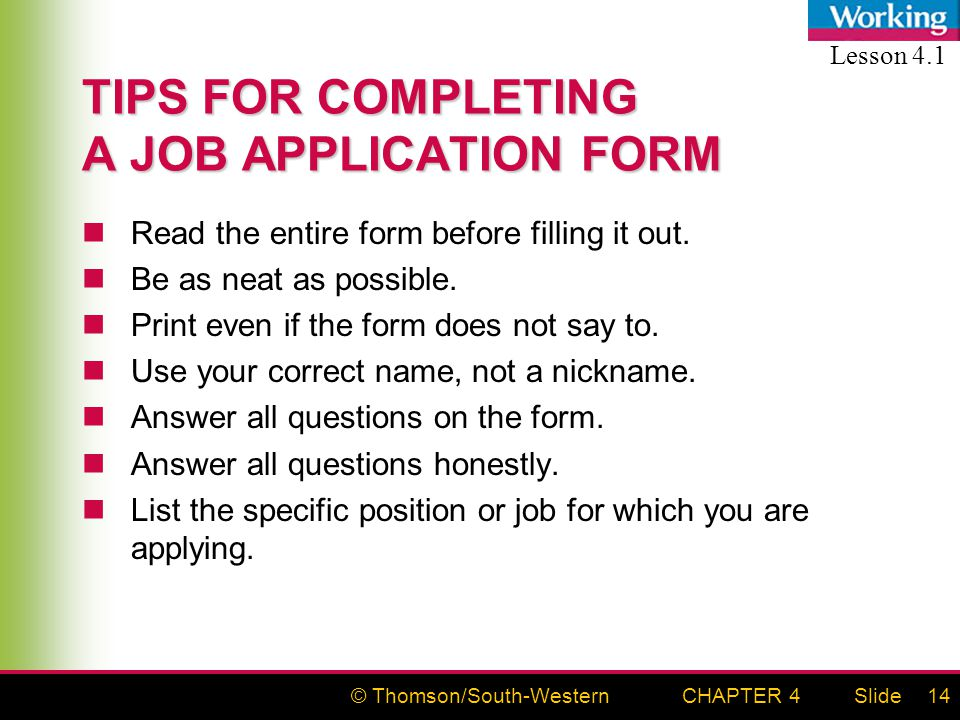 Thomson/South-WesternSlideCHAPTER 41 APPLYING FOR A JOB Data Sheets