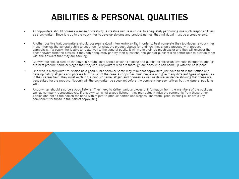 COPY WRITE DUTIES There are various general responsibilities a - copywriter job description