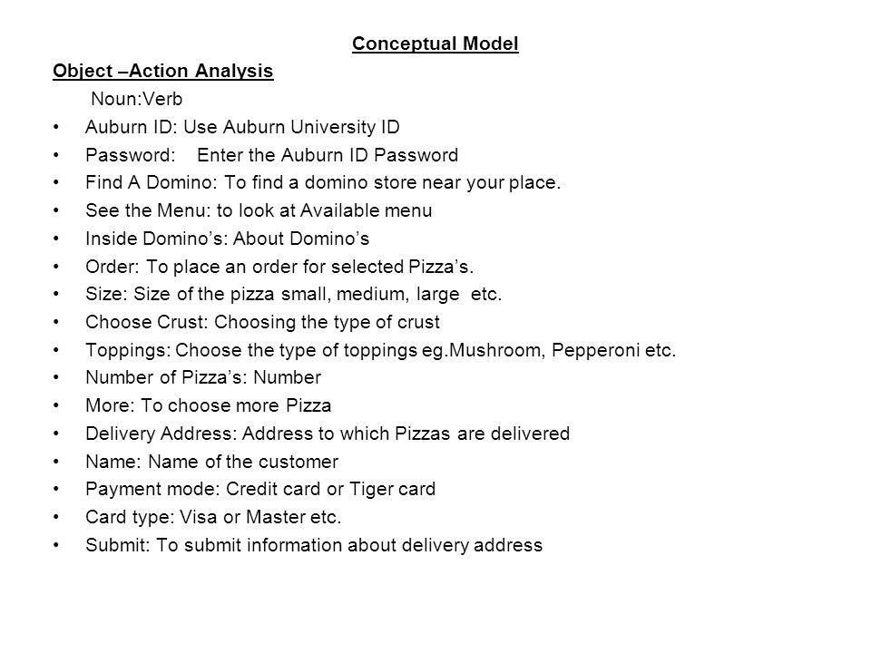 Conceptual Model Object \u2013Action Analysis NounVerb Auburn ID Use