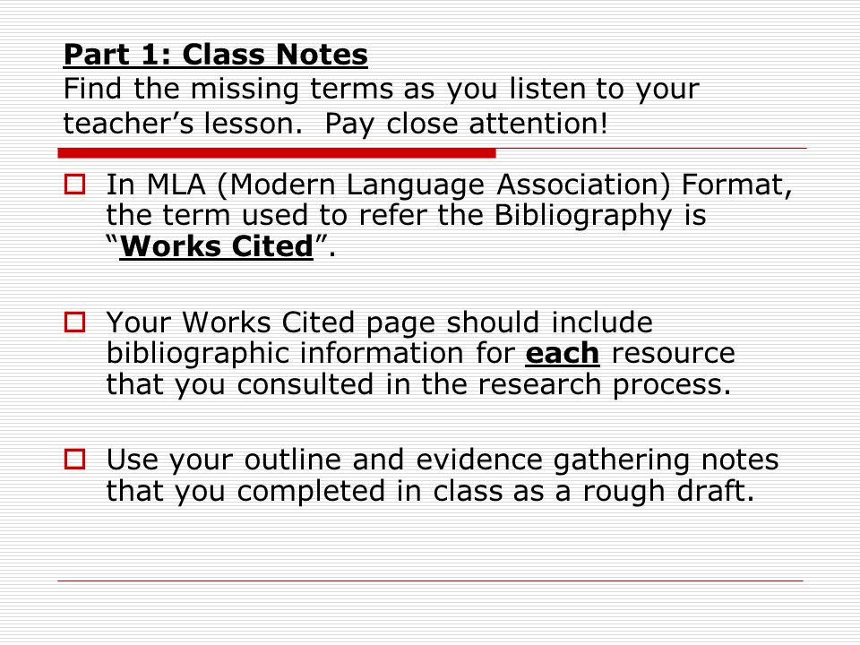 The Works Cited Page MLA Format for a bibliography - ppt download