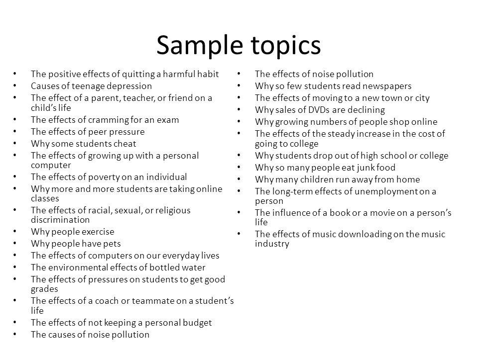 good cause effect essay topics - Goalgoodwinmetals