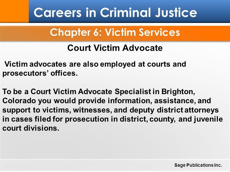 Chapter 6 Victim Services 1 Careers in Criminal Justice Sage - victim witness specialist sample resume