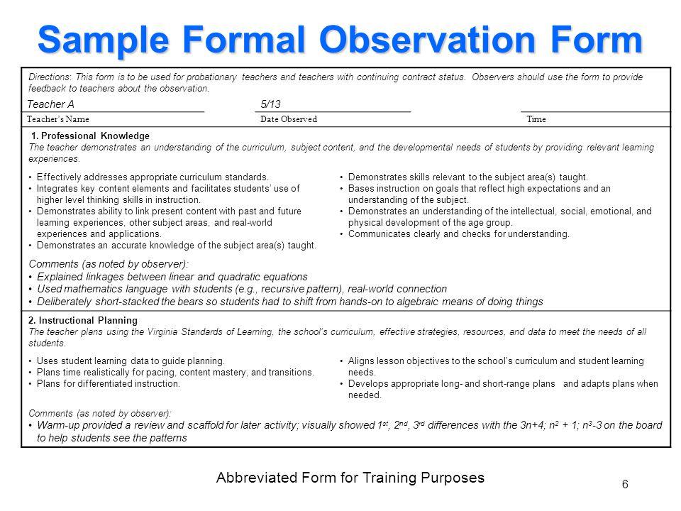 0 Teacher Performance Evaluation System Data Sources August ppt download - observation feedback form