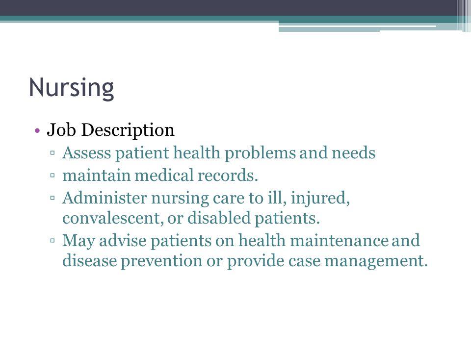 Medical Careers Nursing Doctor Related Fields ▫Dentistry - psychiatrist job description