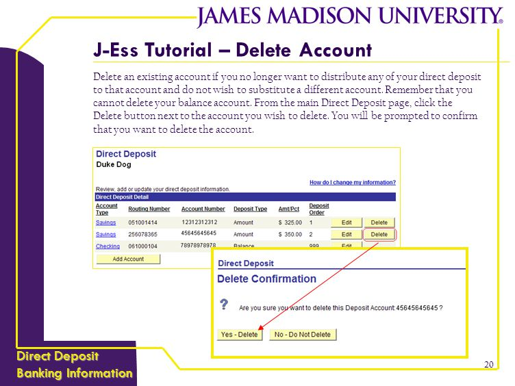 J-ESS TUTORIAL Direct Deposit Banking Information - ppt download