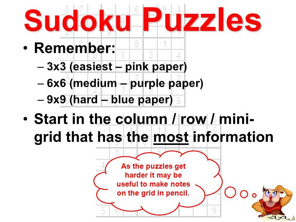 Sudoku Puzzles How to do a 4x4 Sudoku Grid (easiest) Every column