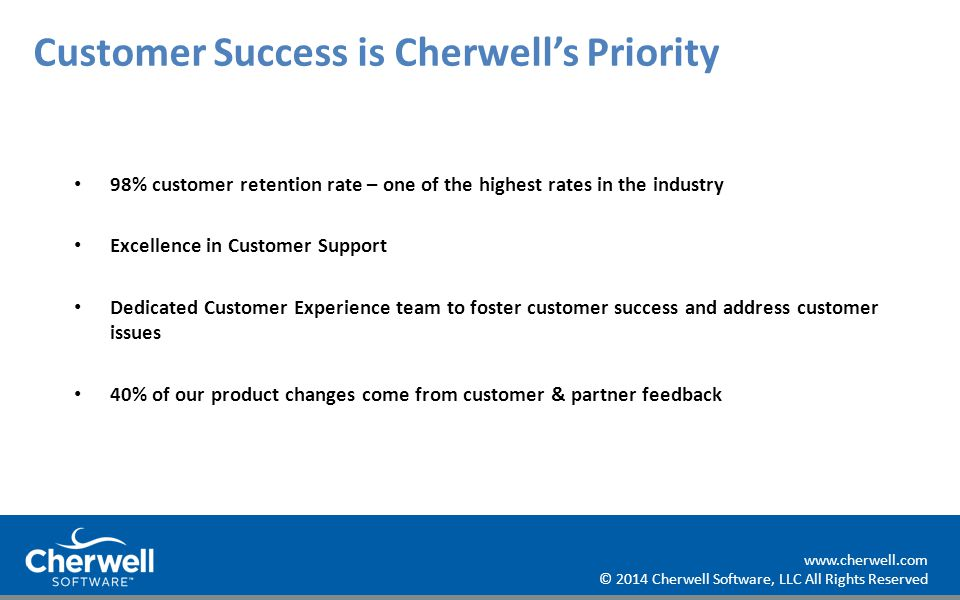 2014 Cherwell Software, LLC All Rights Reserved Cherwell Software