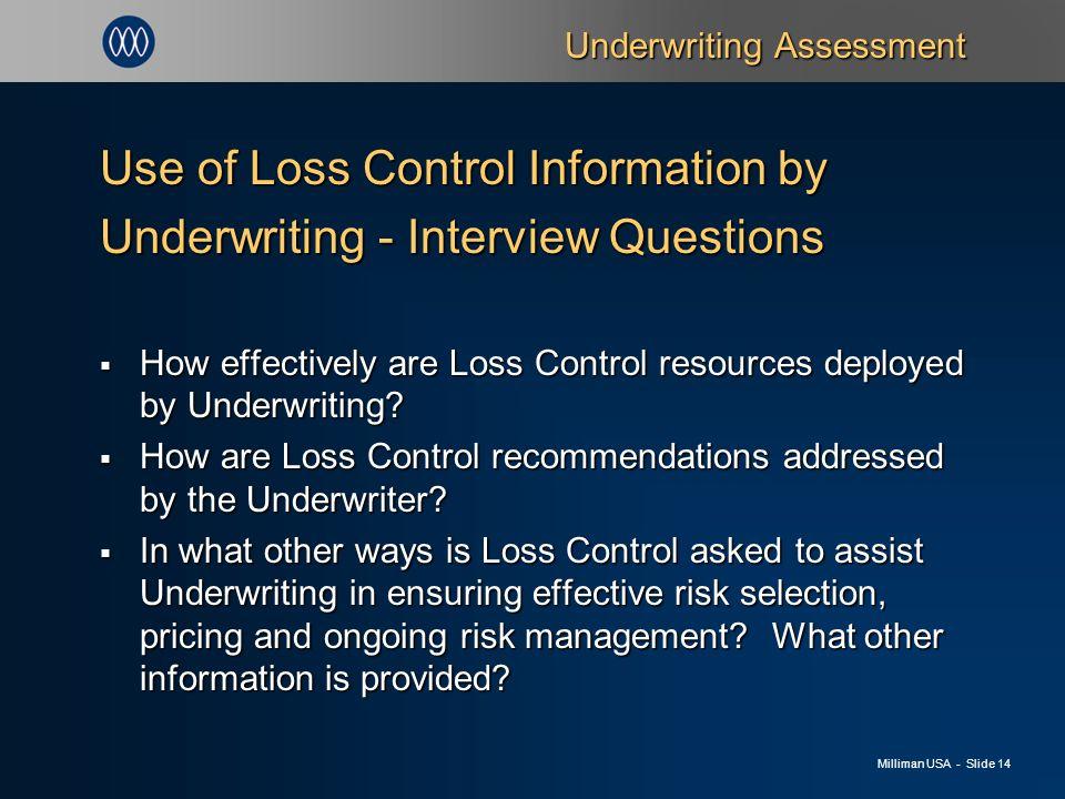 Milliman USA - Slide 1 Underwriting Risk Models An Assessment