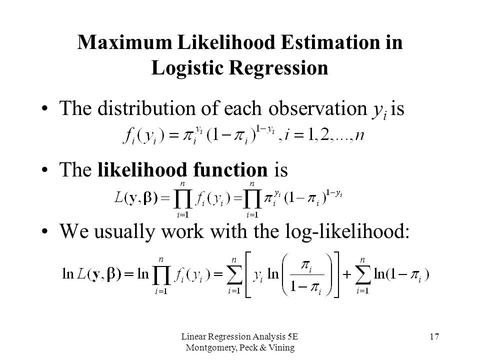 Maximum Likelihood estimation in logistic regressioin Data - needs assessment example