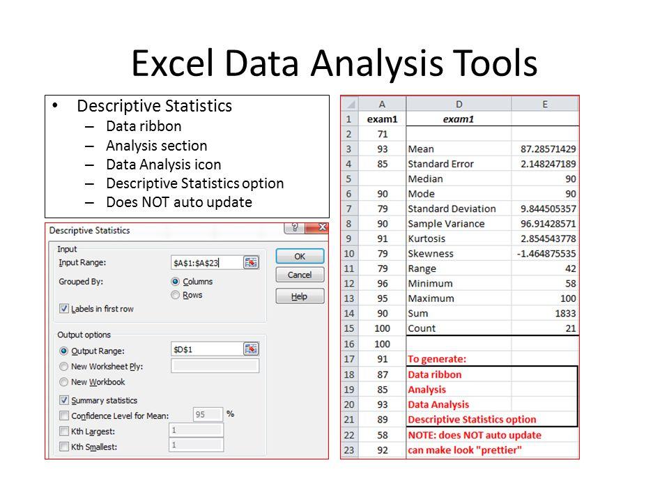 Excel Data Analysis Tools Descriptive Statistics \u2013 Data ribbon