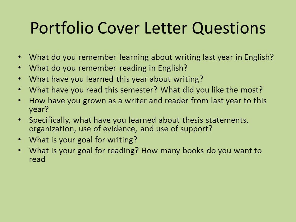 Portfolio Cover Letter Questions Norms Every paper must have the
