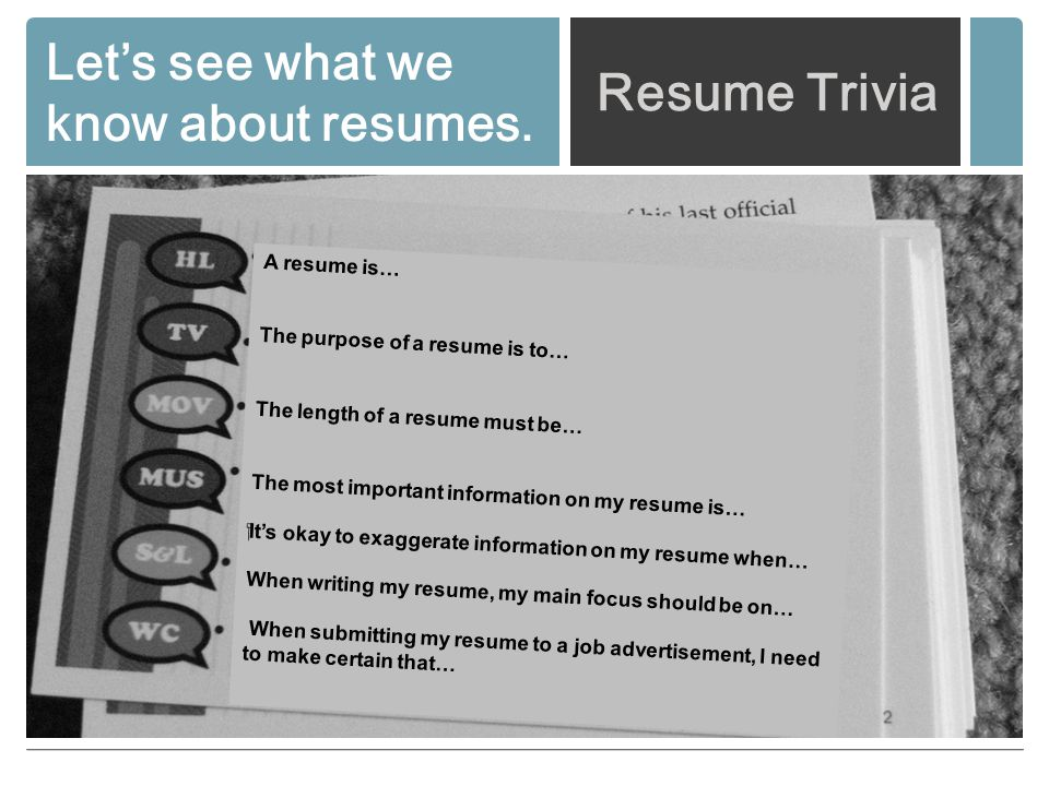 Resume Writing The Resume - An important job search tool PURPOSE