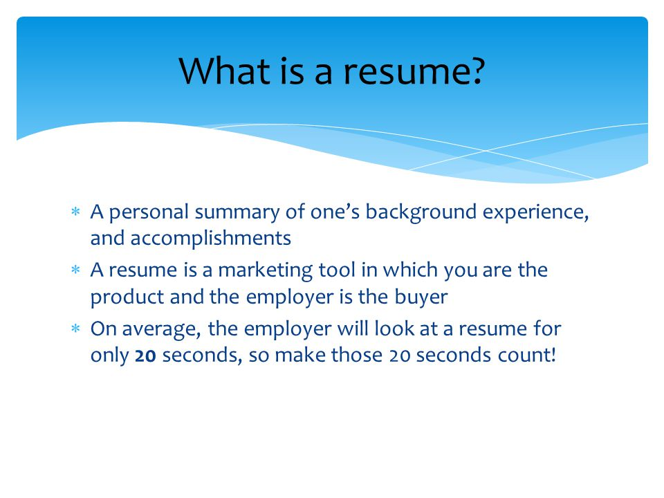 Resumes   A personal summary of one\u0027s background experience, and - personal summary resume