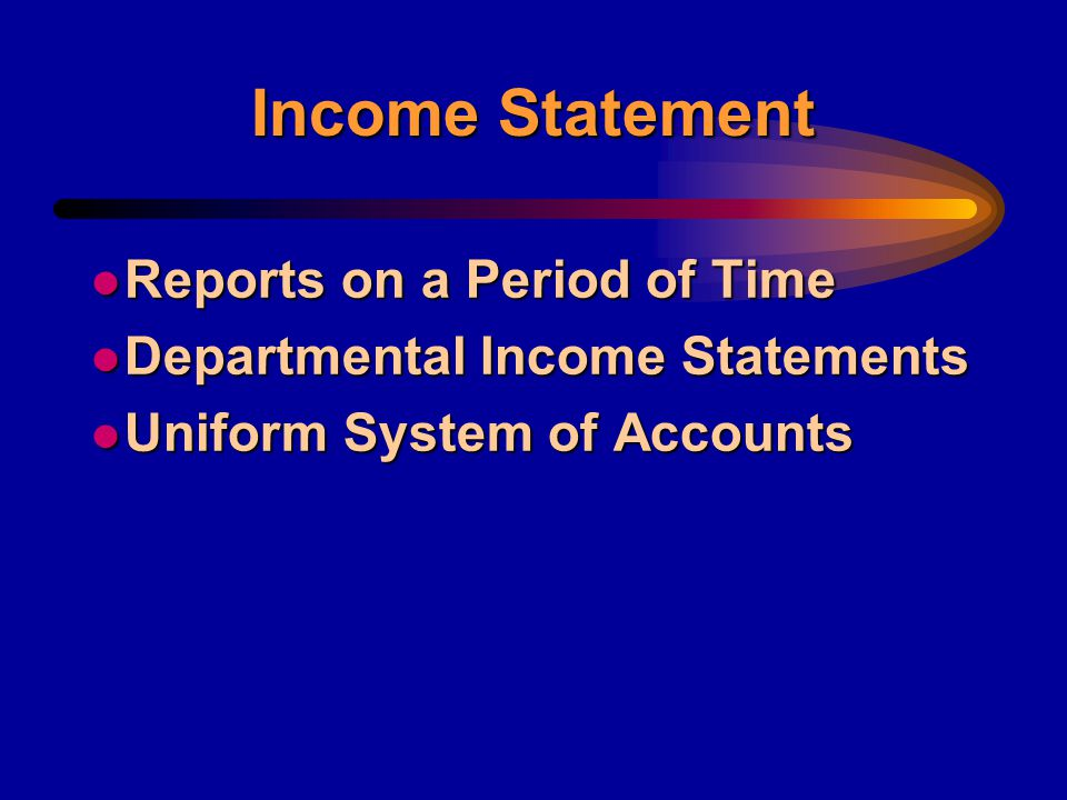 Income Statement l Statement of Earnings l Profit and Loss Statement