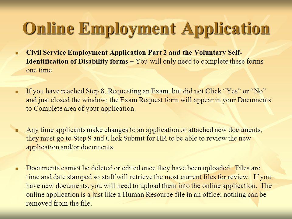 Online Employment Application  Civil Service Testing Click to - civil service exam application form