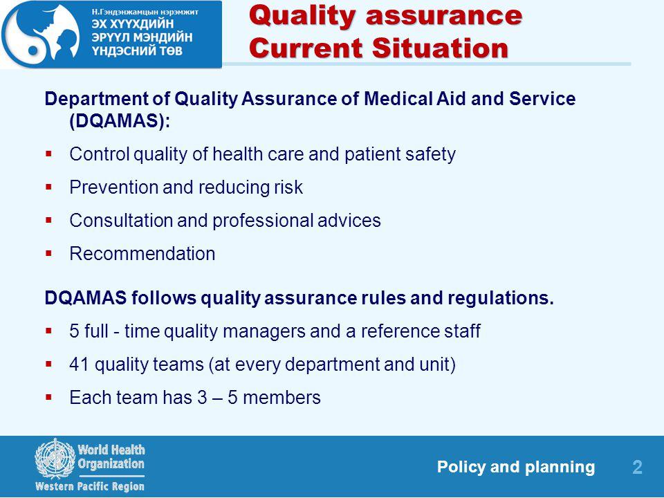 Case Example Management for Quality Services Dr ENKHTUR Shonkhuuz