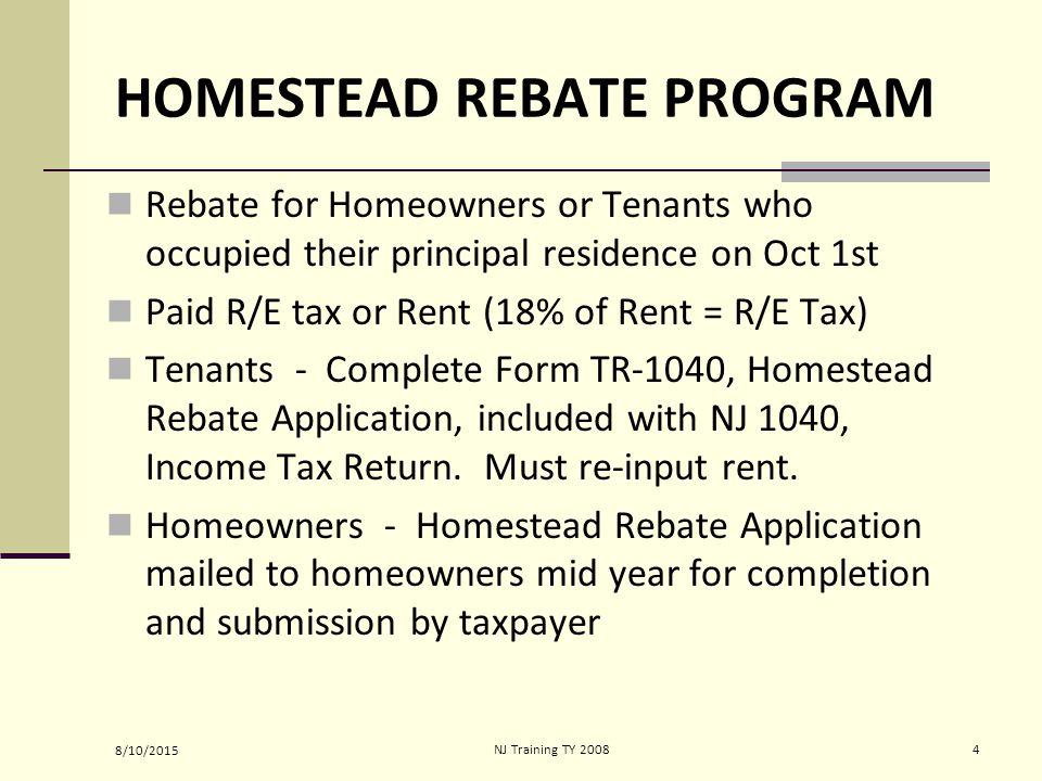 Final NJ Training TY New Jersey Property Tax Relief Programs