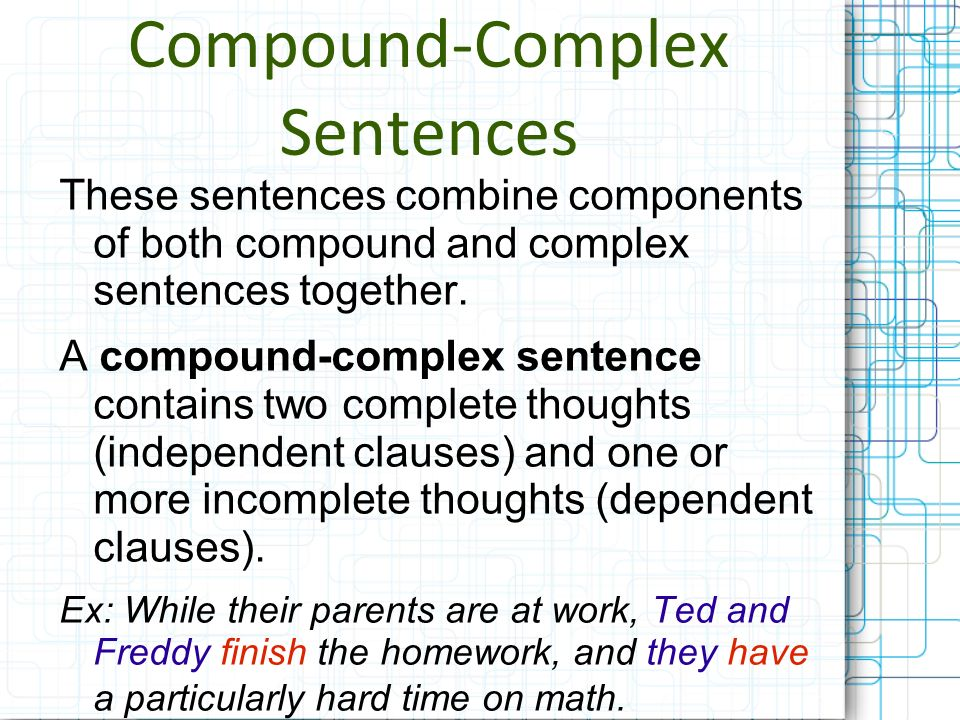 types of sentences simple compound complex compound simple