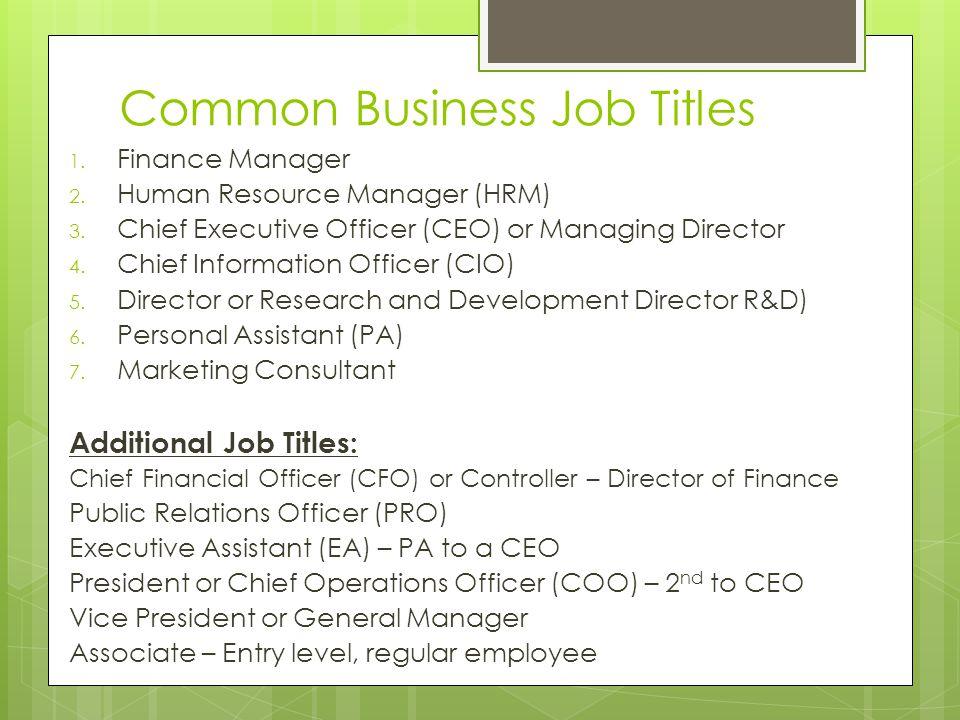 Job Descriptions and Dream Jobs March 20, Common Business Job Titles - financial manager job description