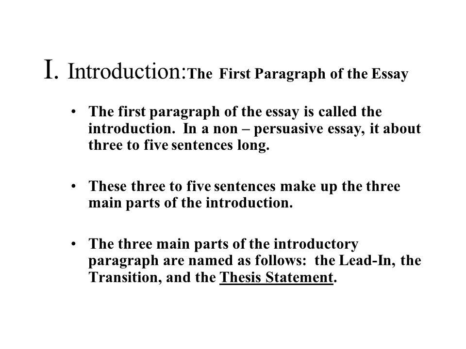 The Six Paragraph Essay for Unit 2 Assessment The Main Parts