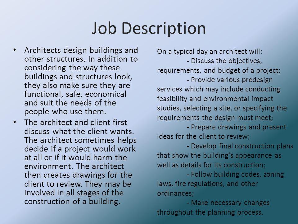 Architect by Keeley Smith Job Description Architects design