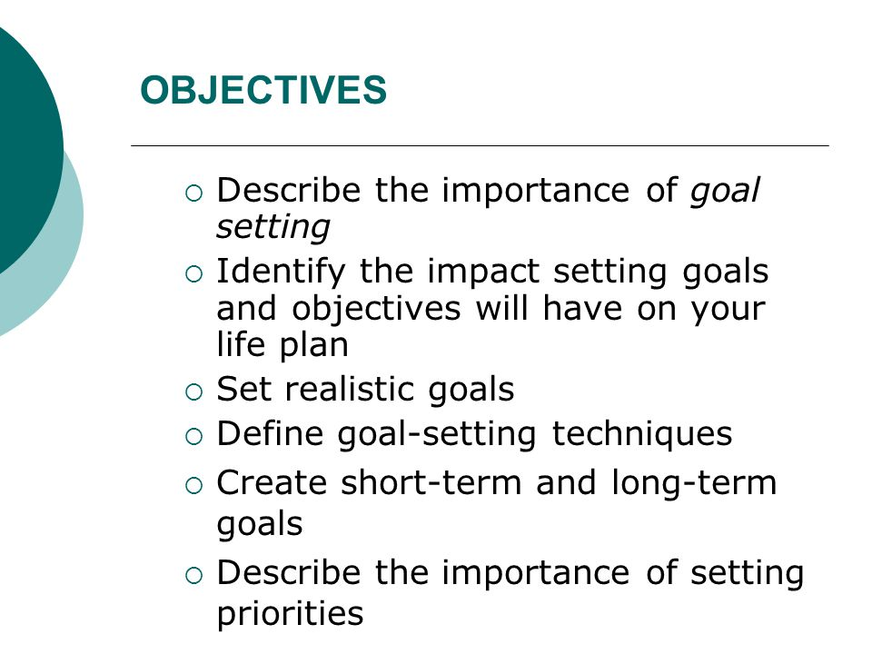 Short medium long term goals and objectives Research paper Academic