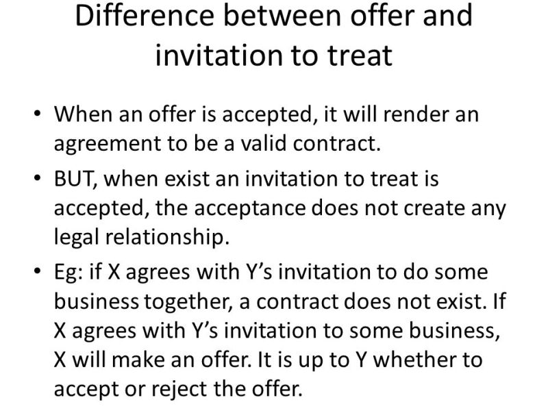 An invitation to treat is not offer invitationswedd law of contract elements offer prepared by nurul stopboris Image collections