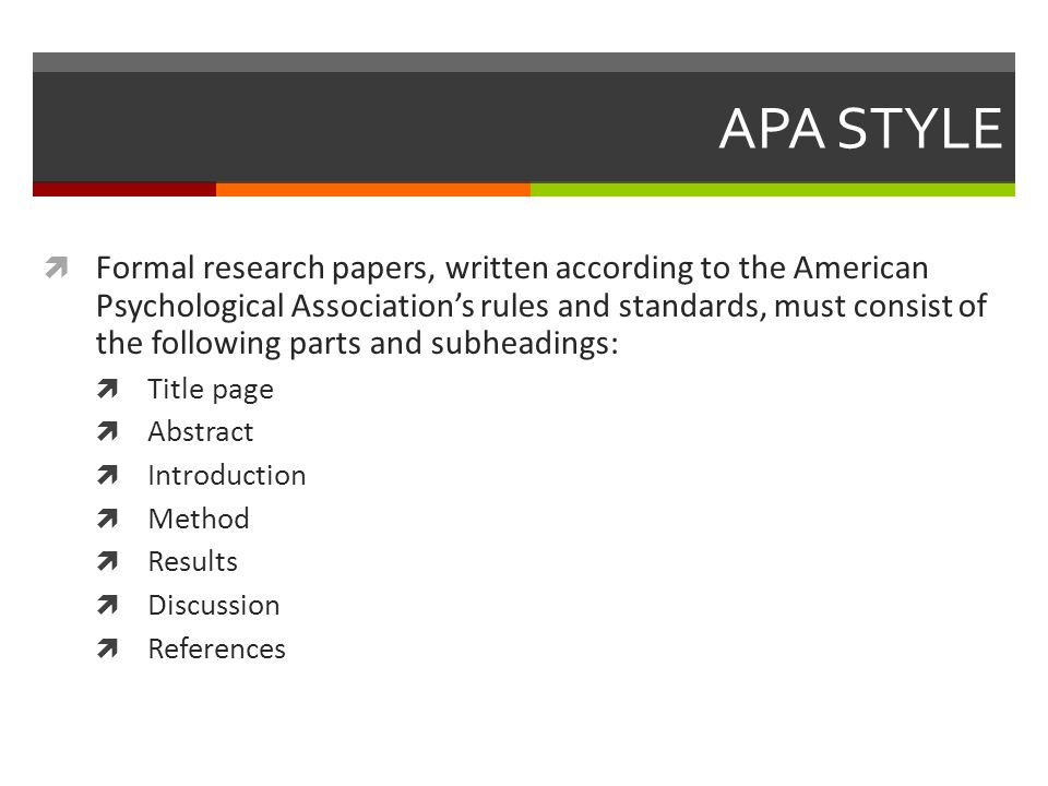 How to Write an APA Research Paper APA STYLE  Formal research