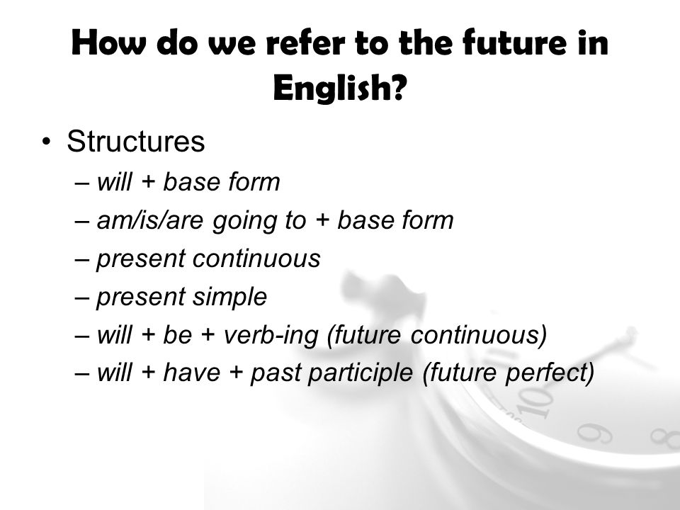 Future Meaning analyse ways English refers to the future look at - simple will form
