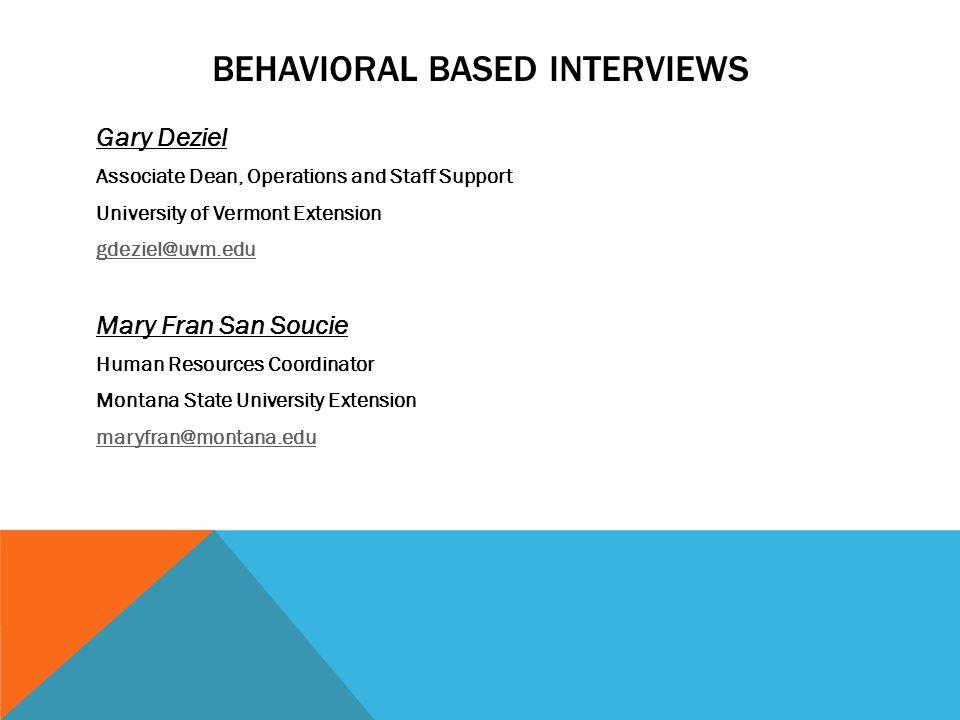 BEHAVIORAL-BASED INTERVIEWS NERAOC 2011, ANCHORAGE, ALASKA - ppt