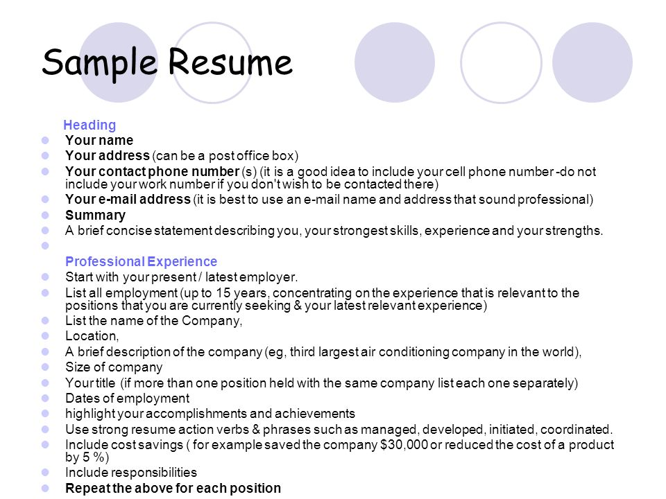 Sample Resume Heading Your name Your address (can be a post office