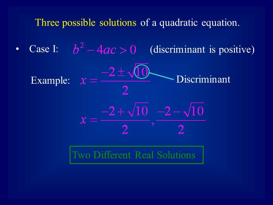 Solving Quadratic Equations \u2013 The Discriminant The Discriminant is